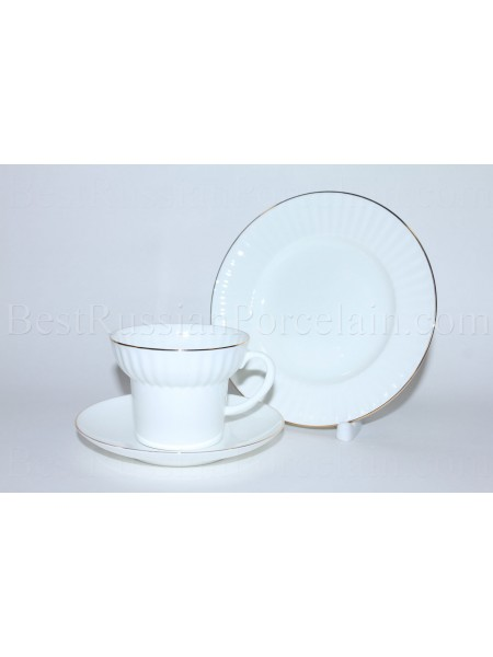 Trio set: cup, saucer and dessert plate pic. Golden Edge Form Wave