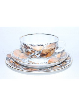 Trio set: tea cup, saucer and dessert plate pic. My Garden, Form Tulip