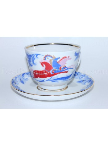 Cup and Saucer pic. Winter, Troika Three Horse, Form Gift