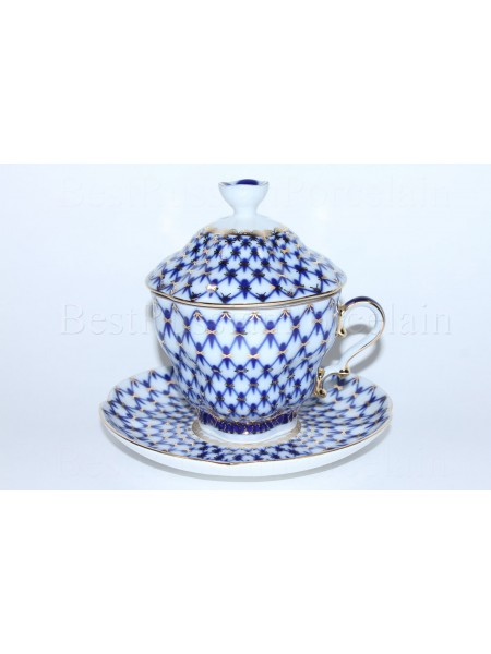 Cup and Saucer and Lid pic. Cobalt Net, Form Gift-2