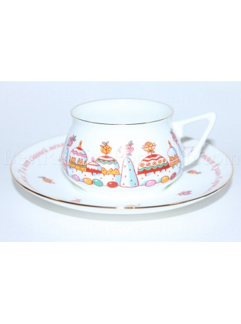 Cup and Saucer pic. Easter Cake City Form Bilibin 1