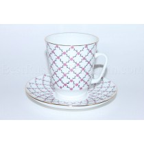 Cup and Saucer pic. Pink Grid or Rose blues Form May
