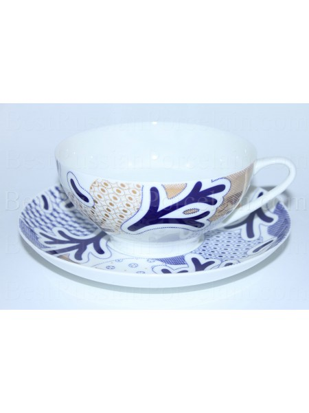 Cup and saucer pic. Blue Pattern, Form Dome