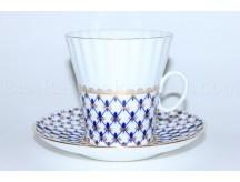 Cup and Saucer pic. Cobalt Net Form Dandelion