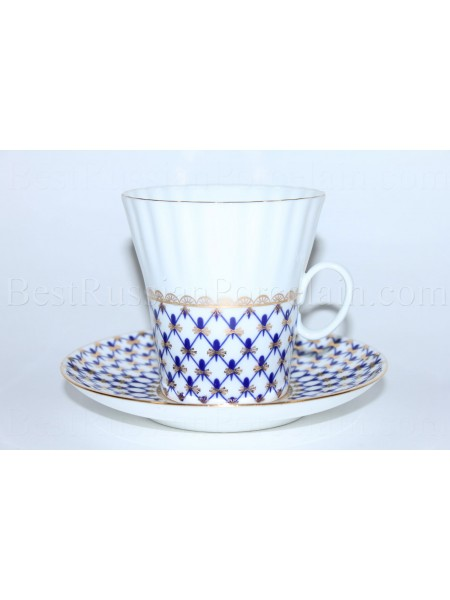 Cup and Saucer pic. Cobalt Net Form Dandelion