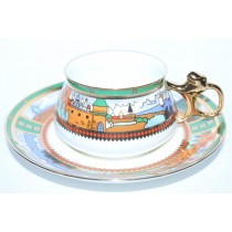 Cup and saucer pic. Village by the lake, Form Bilibin