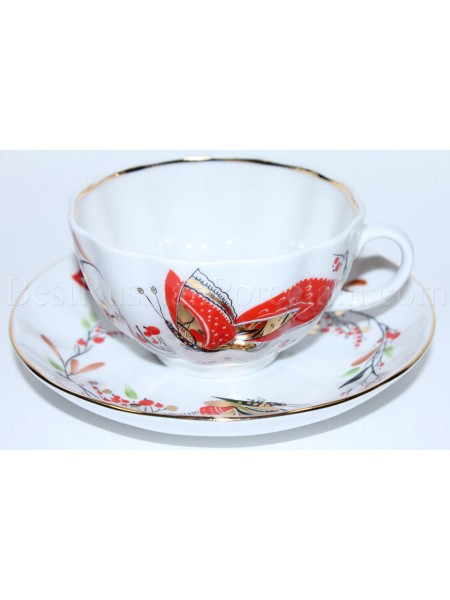 Cup and saucer pic. Butterfly, Form Tulip