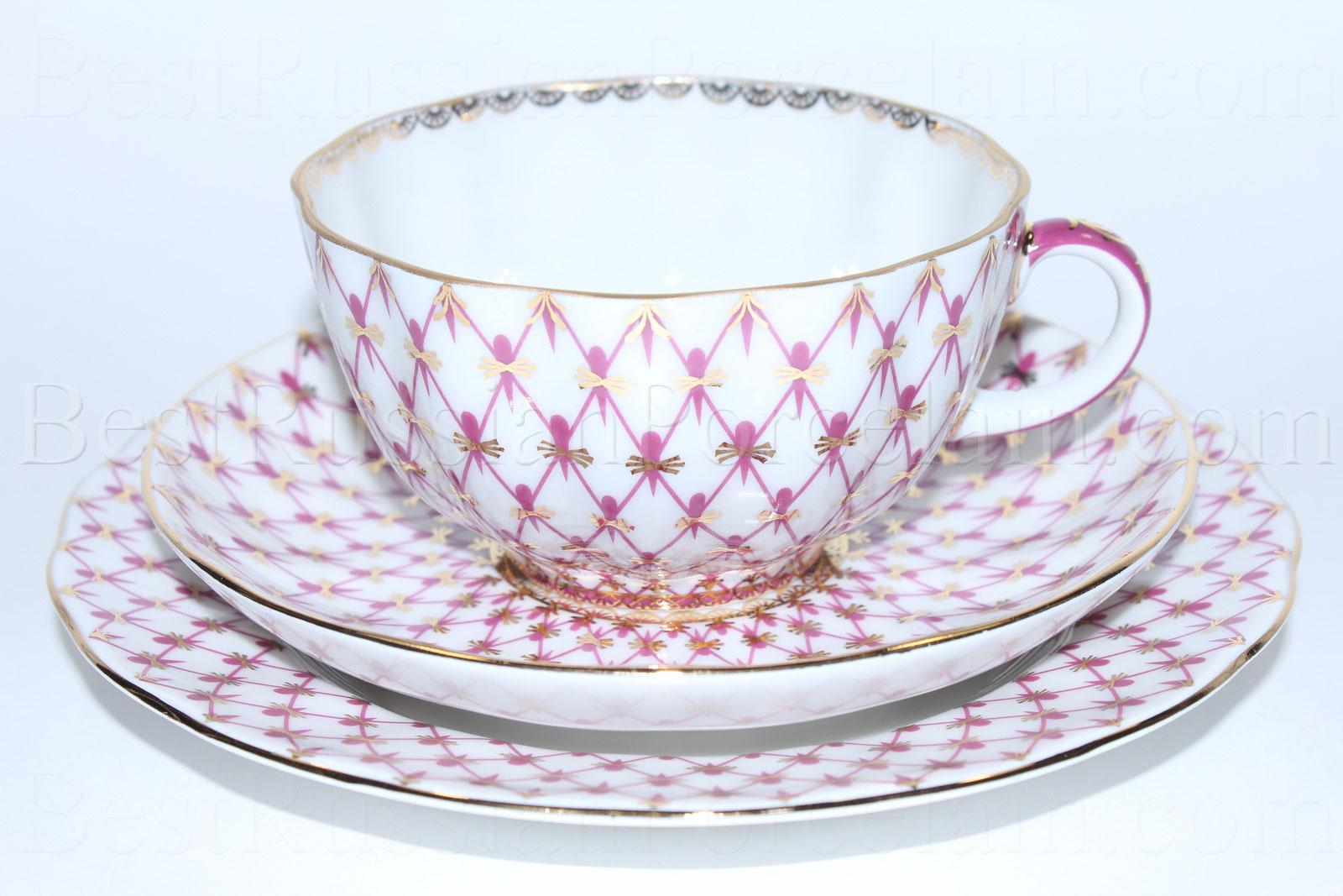 Buy Trio set: tea cup, saucer and dessert plate pic. Net Blues