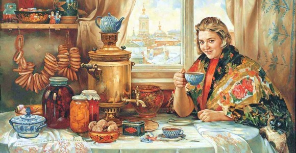 The tradition of tea drinking in Russia.>