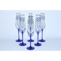 Set 6 Glasses for Champagne pic. Cobalt Net