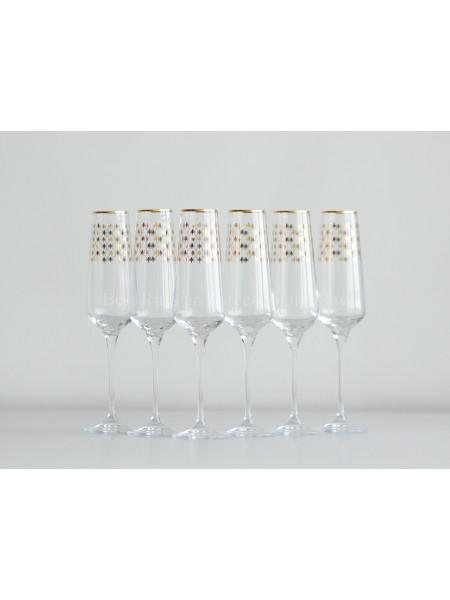 Set 6 Glasses for Champagne pic. Golden Net