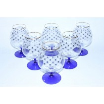 Set 6 Glasses for Cognac pic. Cobalt Net
