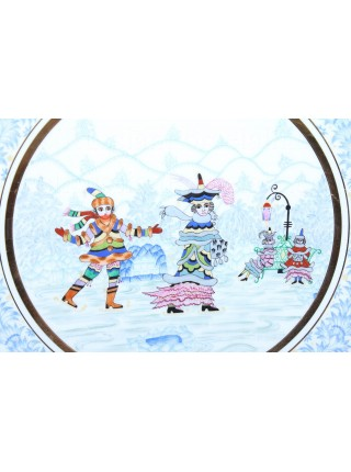 Decorative Plate pic. Winter Fun 1, Form Ellipse