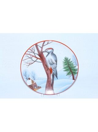 Decorative Plate pic. Motley Woodpecker, Form Ellipse