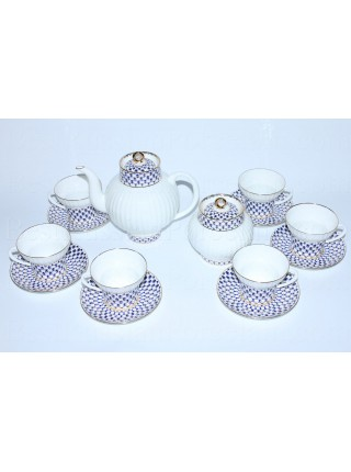 Tea Set pic. Cobalt Net 6/14 Form Wave