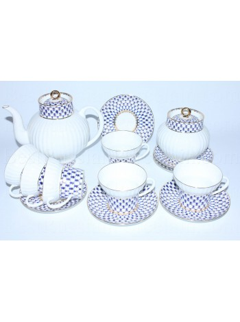 Tea Set pic. Cobalt Net 6/14 Form Wave