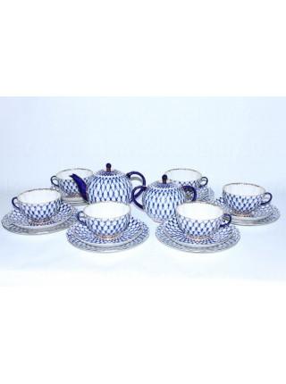 Tea Set pic. Cobalt Net 6/20 Form Tulip