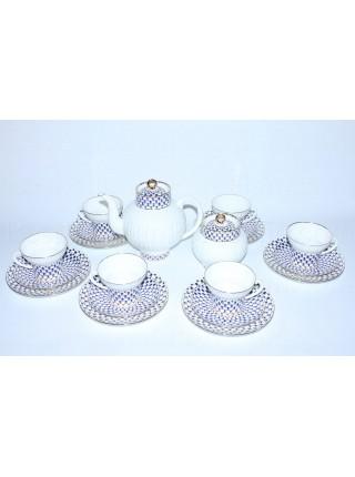 Tea Set pic. Cobalt Net 6/20 Form Wave