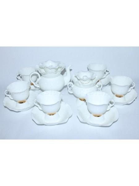 Tea set pic. Golden ribbon 6/14, Form White flower