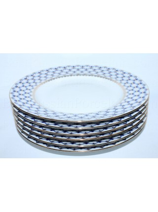 "Set of 6 Dinner Plates pic. Cobalt Net 9.45"", Form Flat"