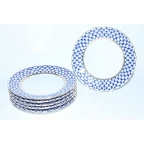 Set of 6 Dessert Plates pic. Cobalt Net, Form Tulip