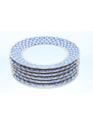 Set of 6 Dessert Plates pic. Cobalt Net, Form Tulip