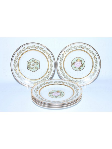 Set 6 Dessert Plates pic. Nephrite Background, Form Smooth