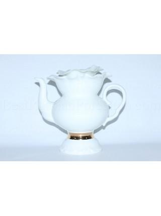 Teapot pic. Golden ribbon, Form White flower
