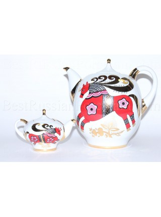 Set of Teapots big and small pic. Red Horse Form Novgorod, BIG 2.5L