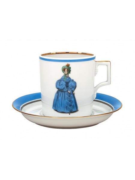 Cup and saucer pic. Modes de Paris 1836, Form Heraldic
