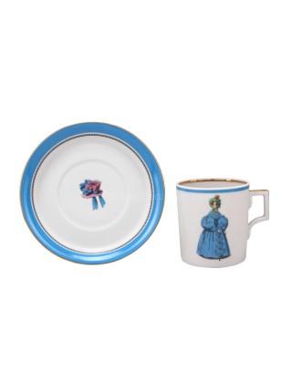 Cup and saucer pic. Modes de Paris 1836, Form Heraldic