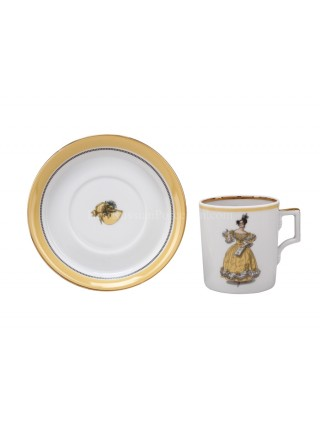 Cup and saucer pic. Modes de Paris 1835, Form Heraldic