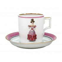 Cup and saucer pic. Modes de Paris 1828, Form Heraldic