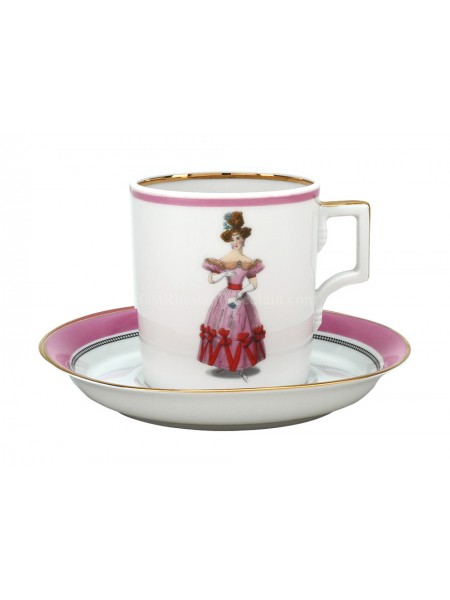 Cup and saucer pic. Modes de Paris 1828, Form Heraldic