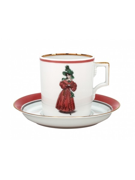 Cup and saucer pic. Modes de Paris 1827, Form Heraldic