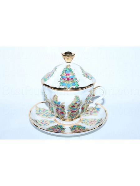 Cup and Saucer and Lid pic. Fantastic Flowers, Form Gift-2