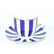 Cup and saucer pic. Yes & No (Cobalt), Form Lily of the valley
