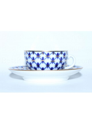Cup and saucer pic. Cobalt Net, Form 40 g.