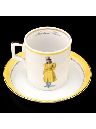 Cup and saucer pic. Modes de Paris 1827, Form Heraldic