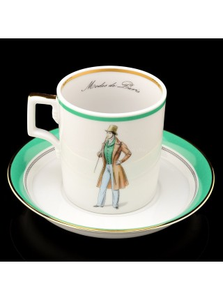 Cup and saucer pic. Modes de Paris 1832, Form Heraldic