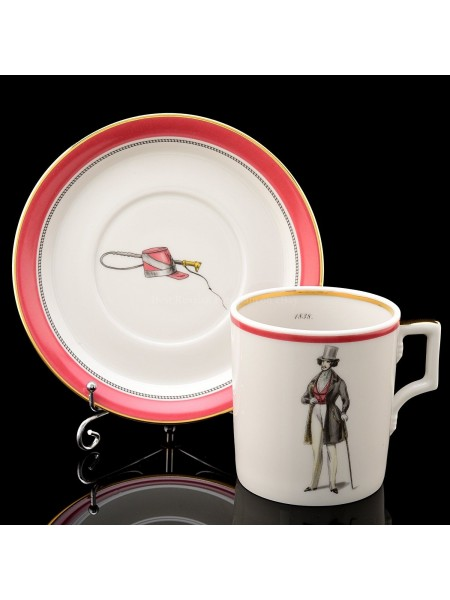 Cup and saucer pic. Modes de Paris 1838, Form Heraldic