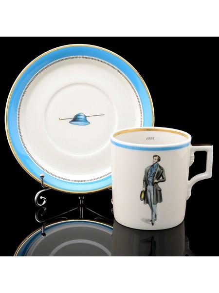 Cup and saucer pic. Modes de Paris 1844, Form Heraldic