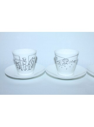 Set of 6 Cups and Saucers pic. Little Prince, Form Black Coffee
