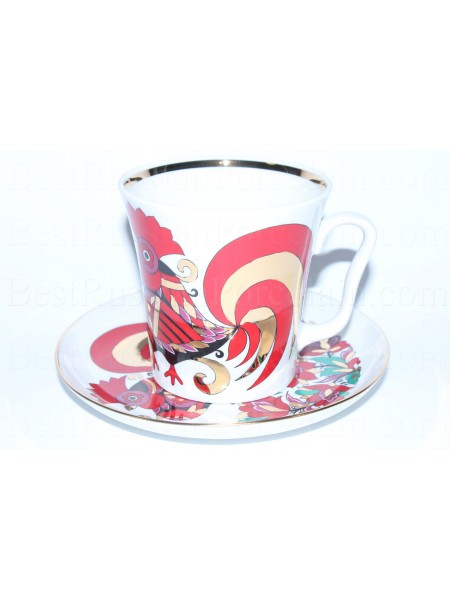 Mug and Saucer pic. Red Rooster, Form Leningrad