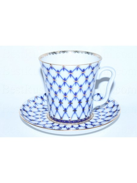 Mug and Saucer pic. Cobalt Net, Form Leningrad