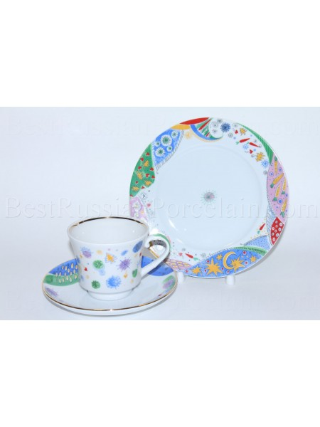 Trio set: tea cup, saucer and dessert plate pic. Carnival, Form Banquet