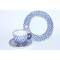 Trio set: coffee cup, saucer and dessert plate pic. Cobalt Net, Form Tulip