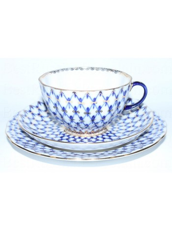 Trio set: tea cup, saucer and dessert plate pic. Cobalt Net, Form Tulip