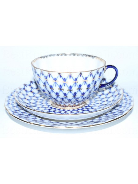Trio set: tea cup, saucer and dessert plate pic. Cobalt Net, Form Tulip