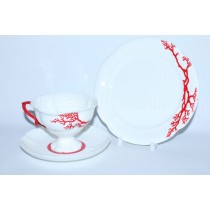 Trio set pic. Coral: cup, saucer and dessert plate, Form Natasha
